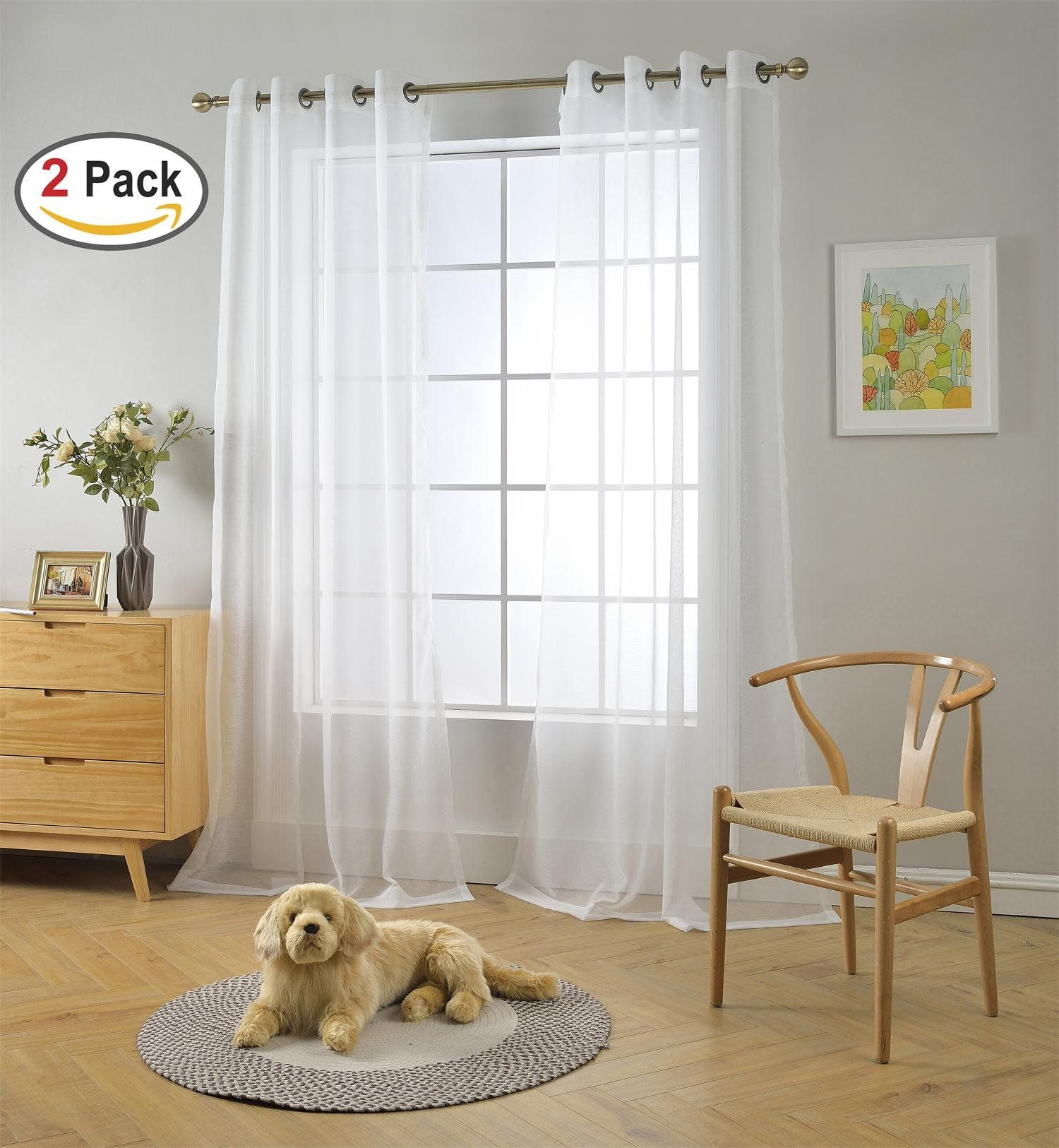 Miuco 2 panels white curtains grommet textured solid sheer curtains 84 inches long for bedroom