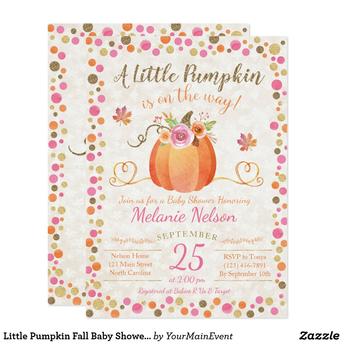 Little Pumpkin Fall Baby Shower Invitation This pink, orange and ...