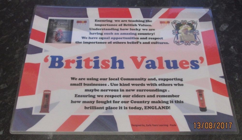 nursery childminder school A4 laminated poster OFSTED BRITISH VALUES POSTER