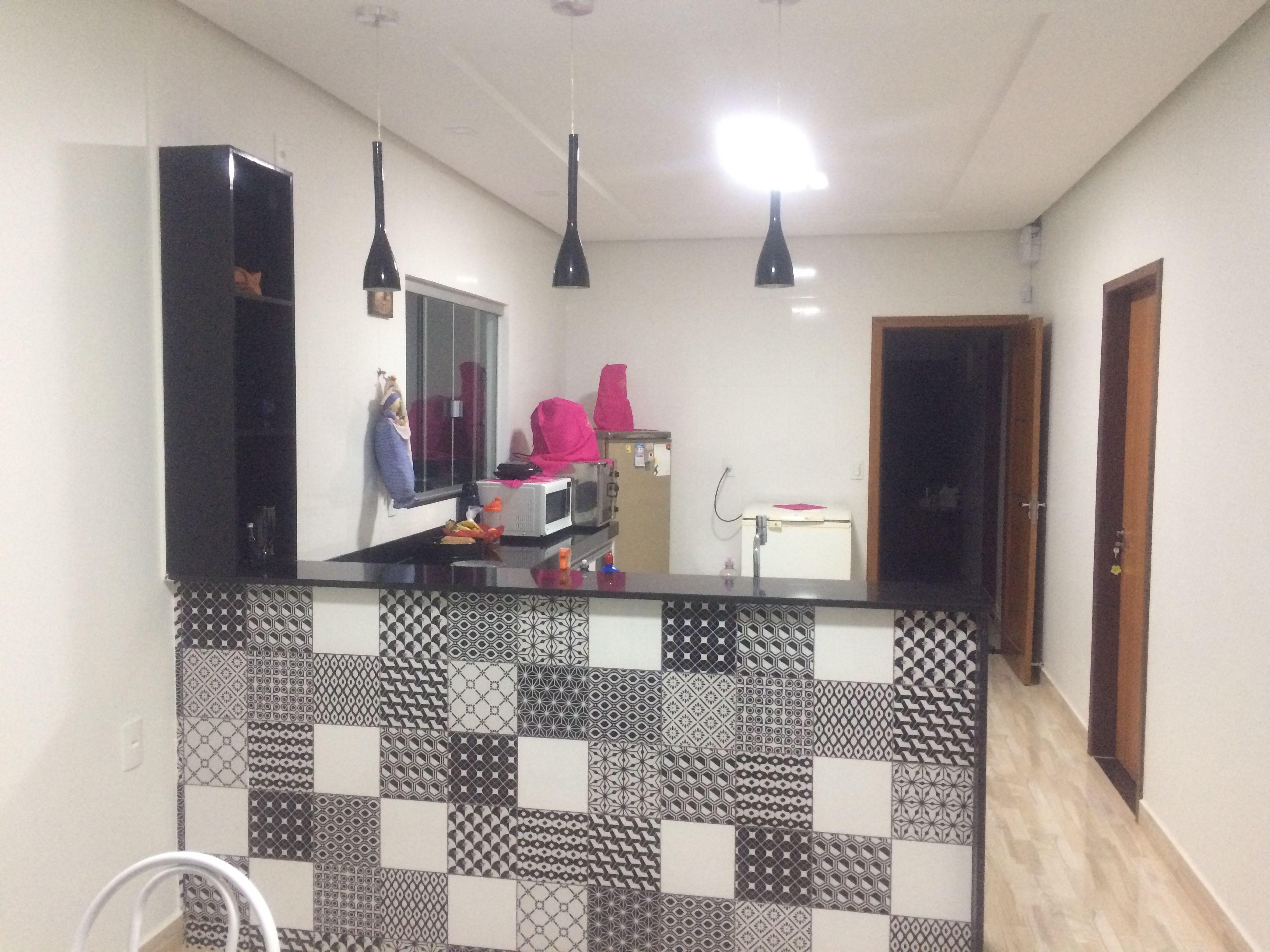 Balc O De Cozinha Em Azulejo Personalizado Preto E Branco Cozinha