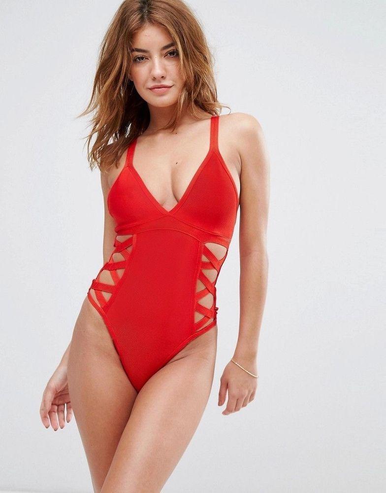 4f5b62b19cf91 NEW Missguided Bandage Lattice Red Swimsuit Costume Size UK 8  fashion   clothing  shoes  accessories  womensclothing  swimwear (ebay link)