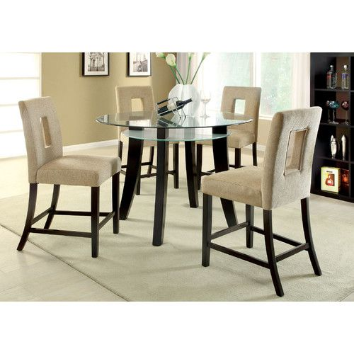 Found It At Wayfair 5 Piece Dining Set Counter Height Dining Table Set Glass Kitchen Tables Glass Round Dining Table