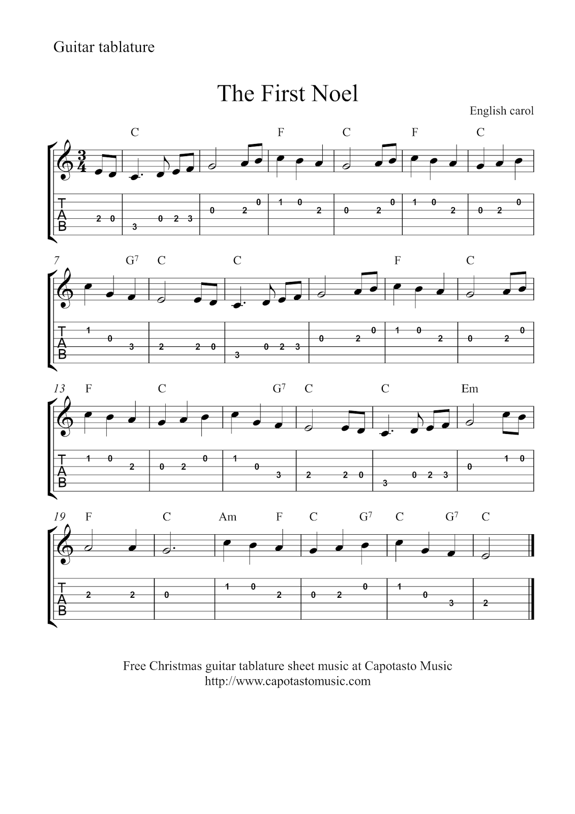 Free Christmas guitar tablature sheet music The First