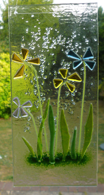 Fused glass flower suncatcher amber yellow blue lilac flower