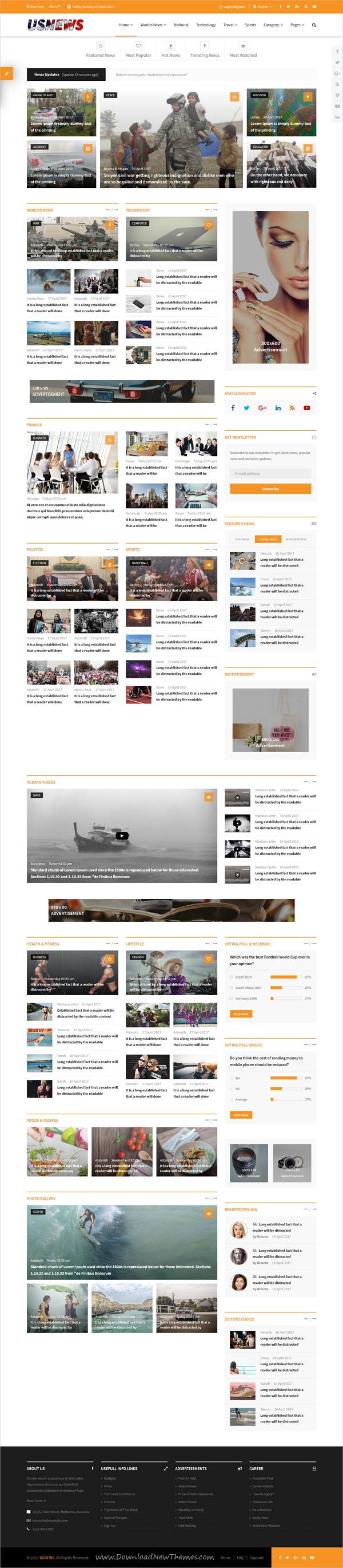 USNews | Multipurpose News, Magazine and Blog HTML5 Template ...