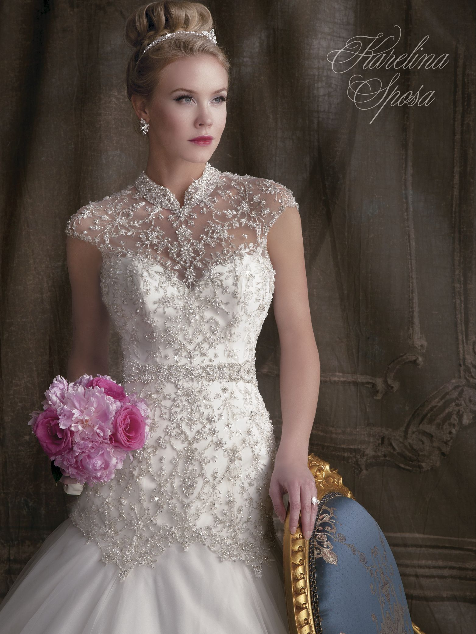 By karelina sposa french tulle trumpet gown with illusion neckline