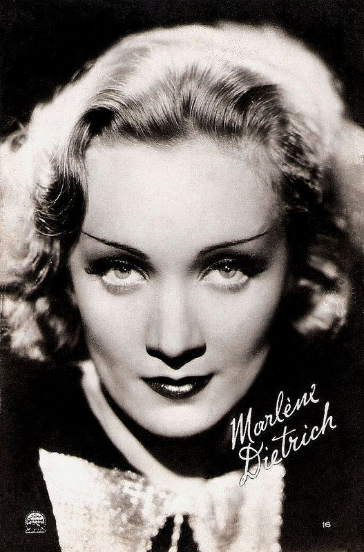Marlene Dietrich. French postcard by Editions et Publications Cinematographiques, no. 16. Photo: Paramount.