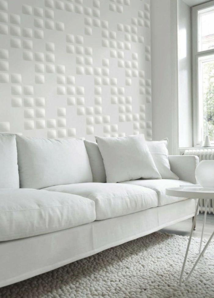 wandgestaltung ideen wohnzimmer weiß stilvoll wohnzimmerteppich - wohnzimmer ideen weiss
