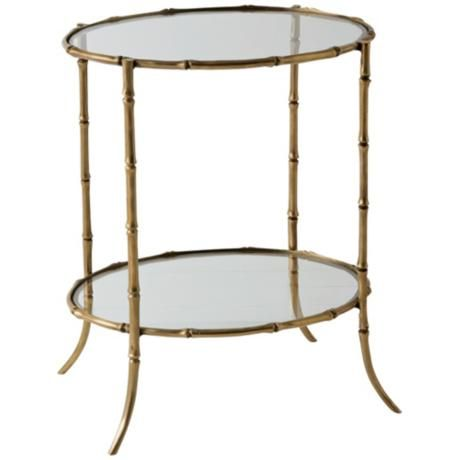 Antique Brass Bamboo Side Table For inside the home Table