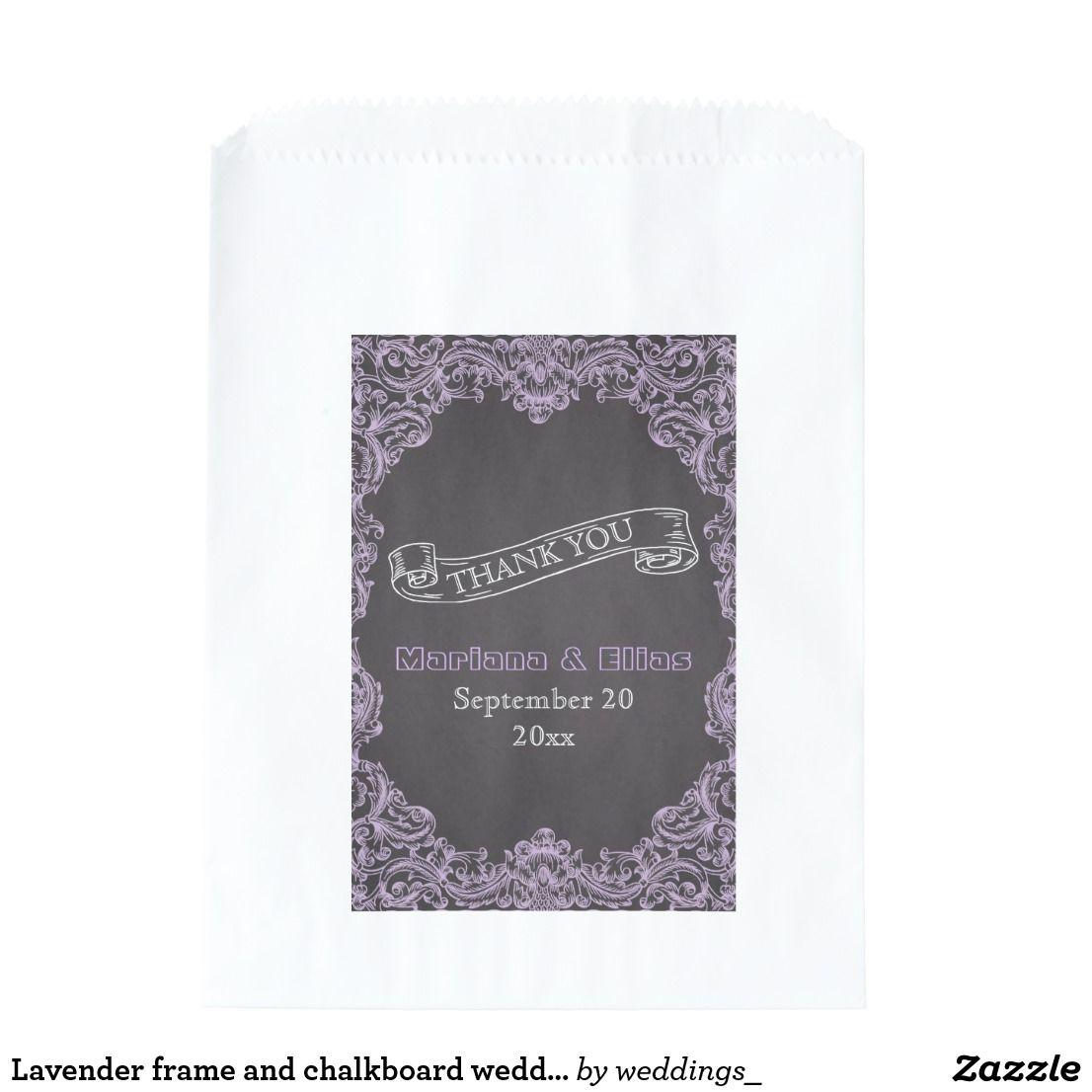 Lavender frame and chalkboard wedding Thank You Favor Bag | Wedding ...