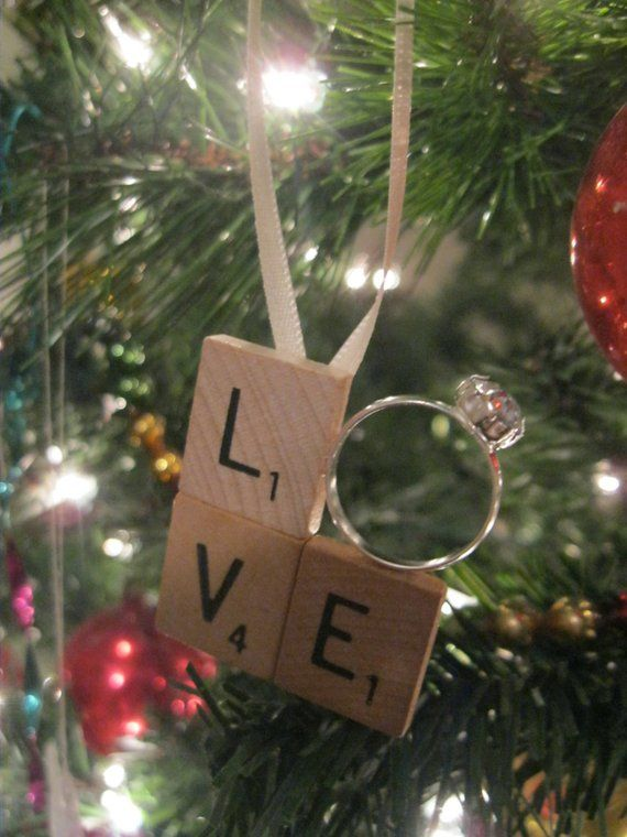 Scrabble Tile Love Engagement Ring Christmas Ornament Just Engaged Just Married First Christmas