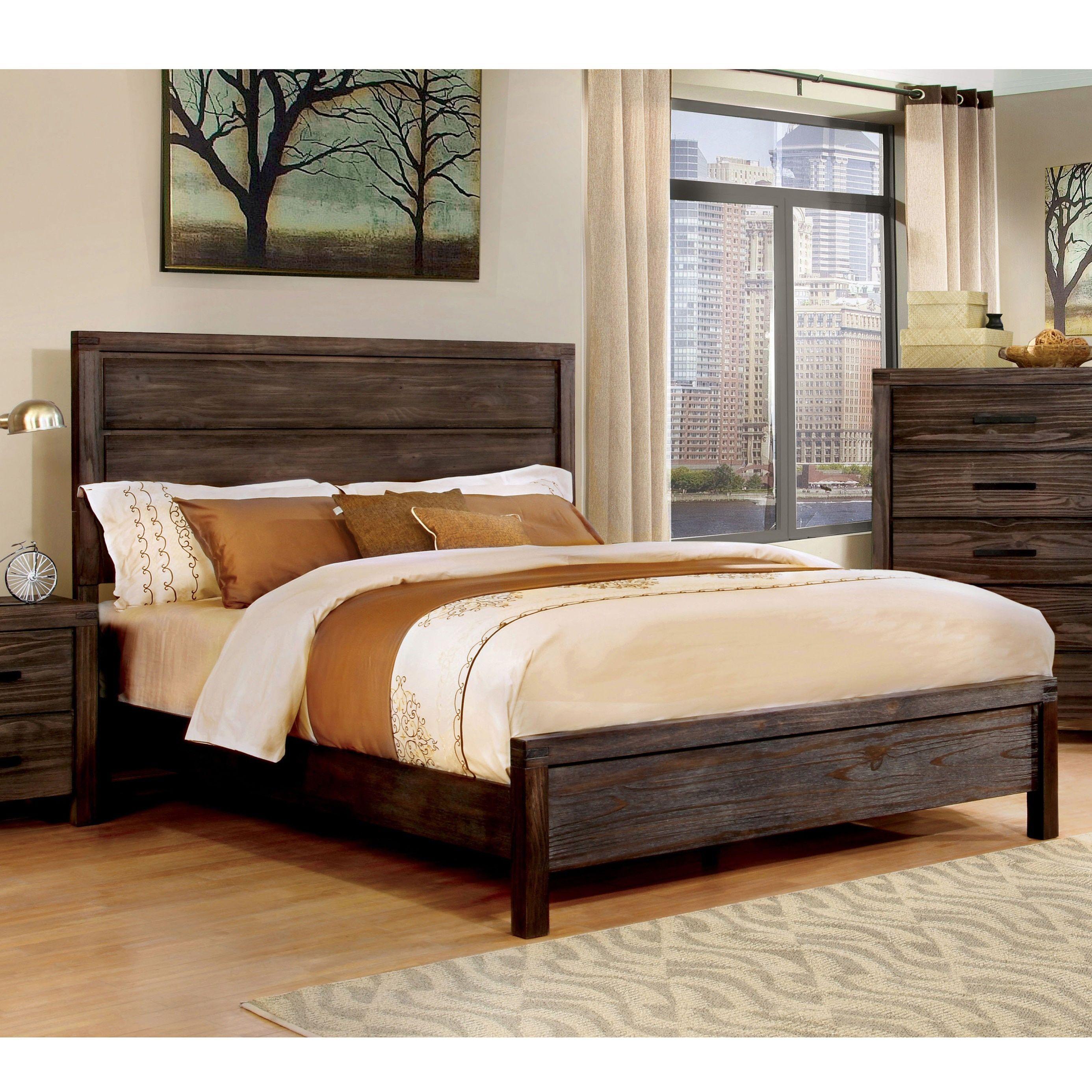 Furniture Of America Nali Rustic Grey Solid Wood Panel Bed Furniture Panel Bed Bedroom Furniture