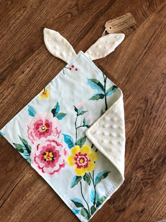 Vinatge Cotton Bunny Lovey Blanket   Child Baby Keepsake Blankie   Flower Baby Shower Gift   Soft Lovey Girl Security Blanket Bunny   floral