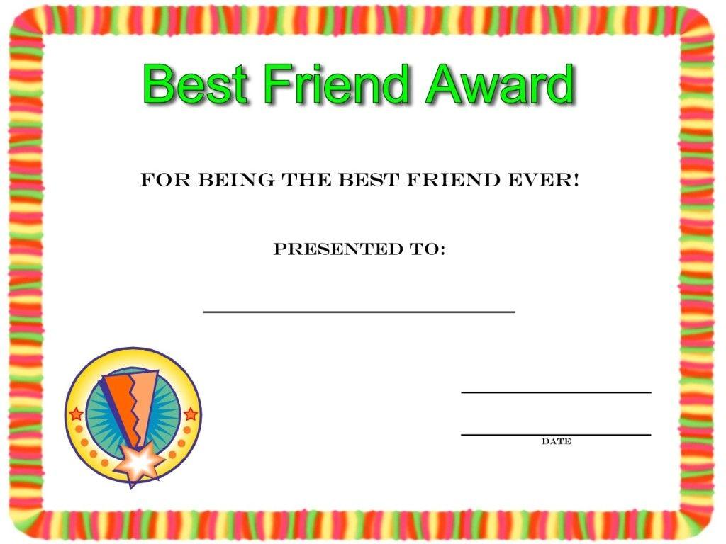 Best friend award Friendship