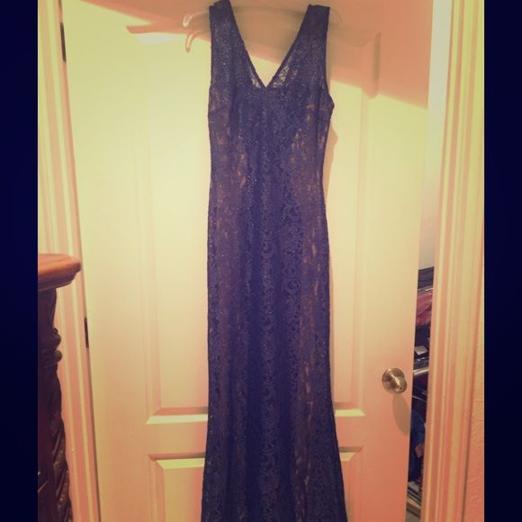 Evening dress Sheer blue lace on the sides with nude slip Dresses