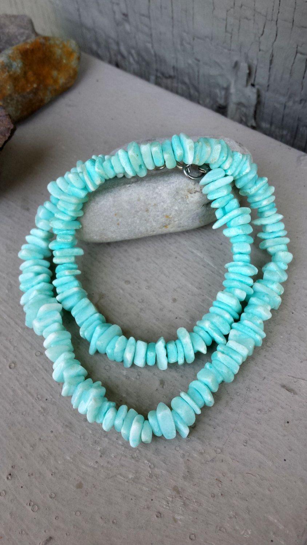 Turquoise Puka Shell /& White Quartz Necklace