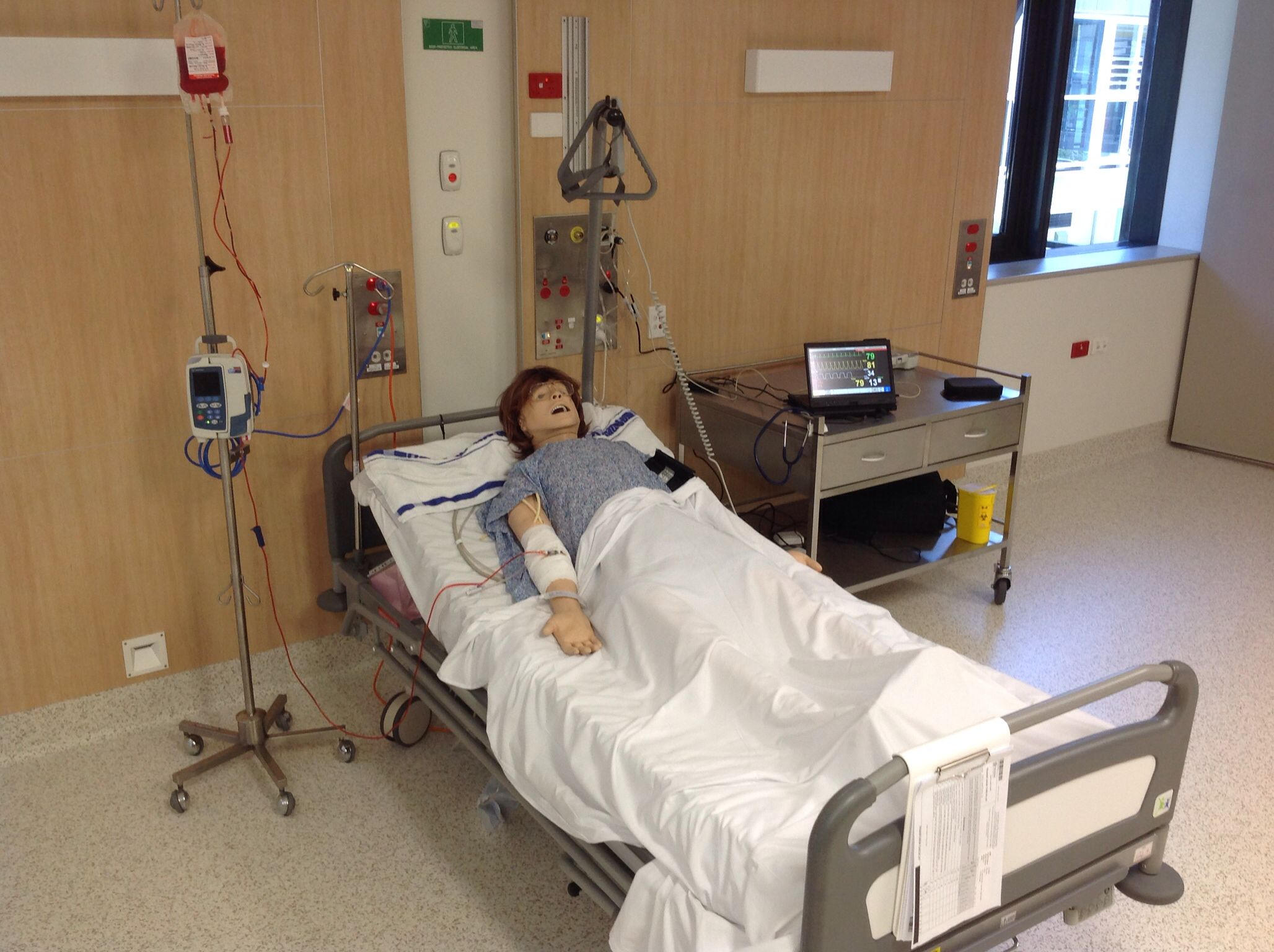 Blood transfusion running through an Alaris pump. Patients