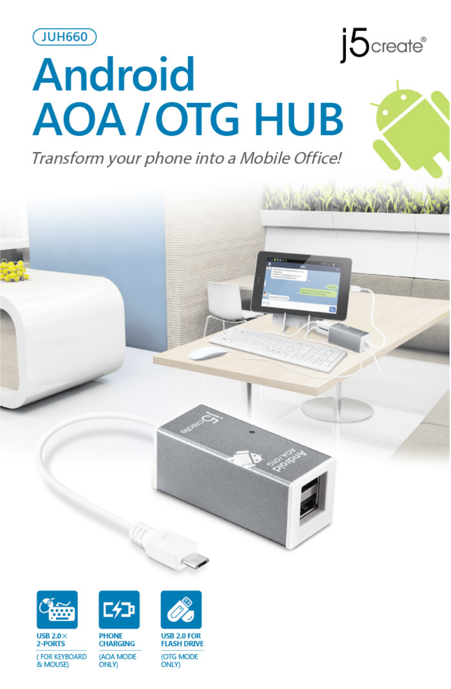 JUH660 Android AOA / OTG HUB | OTG (On The Go) | Tablet