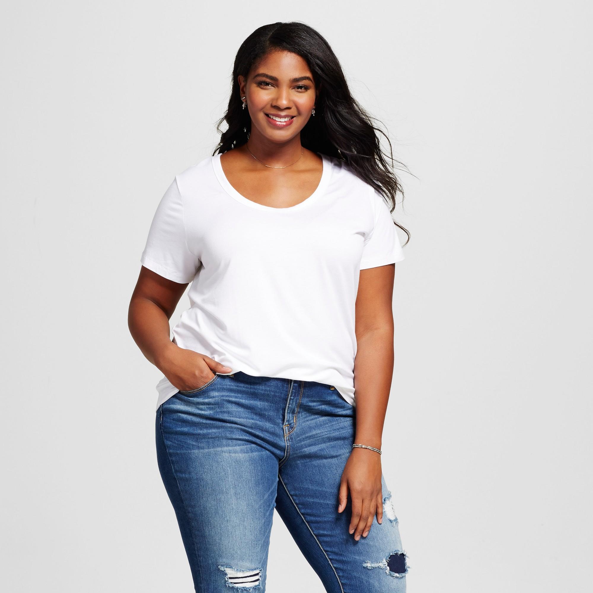 5d425111805 Women's Plus Size Perfect T-Shirt - Ava & Viv White 3X, Size: 3XL ...