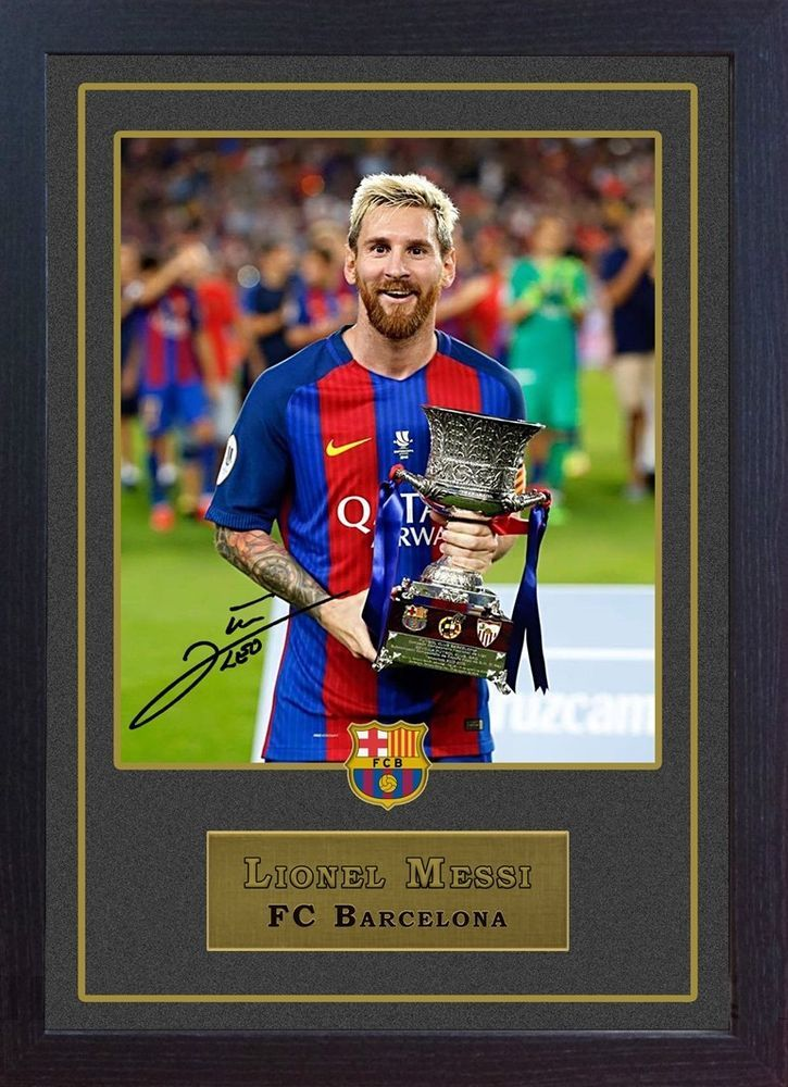 9eb7b6244a1 Lionel Messi FC Barcelona signed autograph FRAMED printed photo