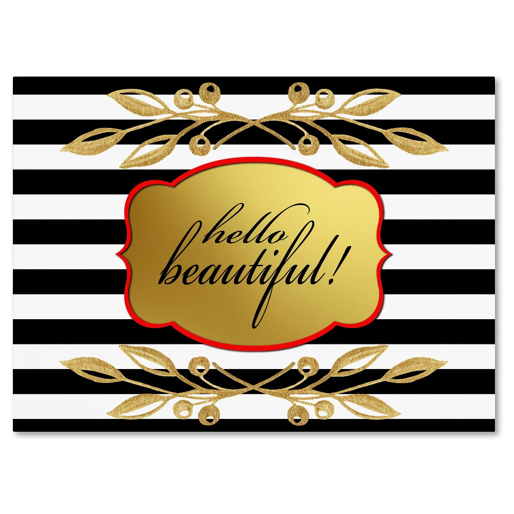 Gold hello beautifulu by lightbox journal ready to hang canvas wall