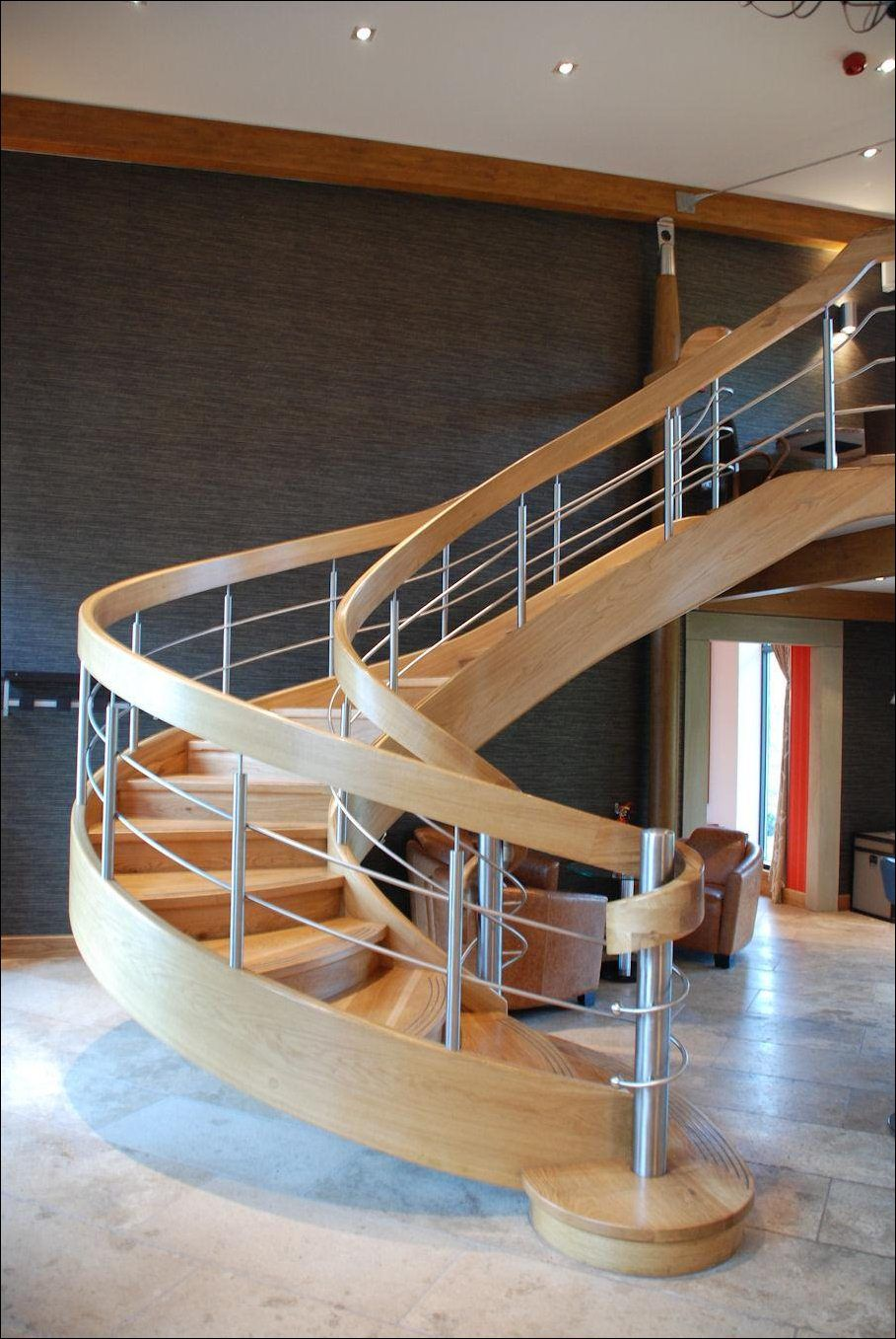 DecorationsDazzling Modern Wooden Spiral Staircase Designs On Brown