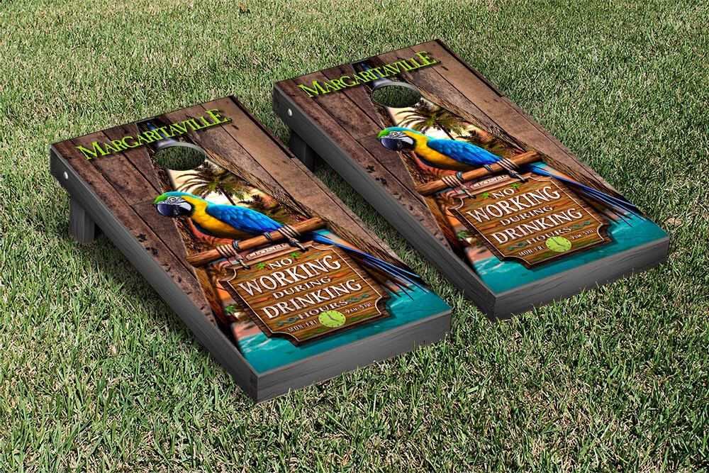 Margaritaville No Work During Drinking Hours Cornhole Set, 2x4, Wood,  Portable, Includes