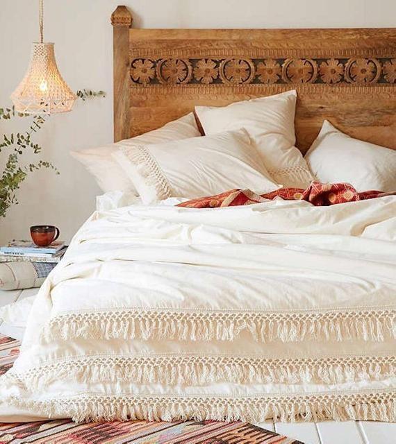 Cotton Fringes Tassels Duvet Cover Boho Bedding 100 Cotton Etsy In 2021 White Duvet Covers White Duvet Boho Duvet Cover