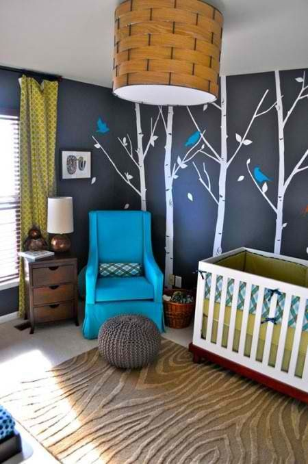 Dark Gray and blue woodland nursery- my favorite!!
