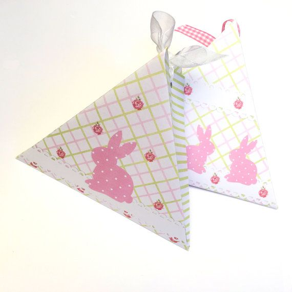 Pink easter bunny triangle gift box shabby chic rabbit pink pink easter bunny triangle gift box shabby chic rabbit pink pastel green negle Image collections
