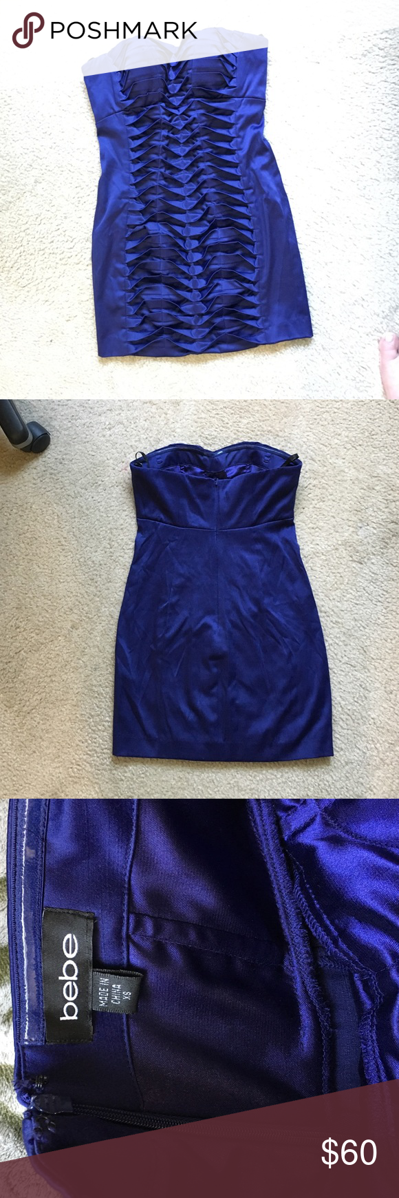 Bebe PIXIE dress Worn once!! Bebe navy dark blue PIXIE dress.  Fishtail detail in front.  Strapless.  Size XS.  Perfect condition. Pictures don't do it justice bebe Dresses Strapless