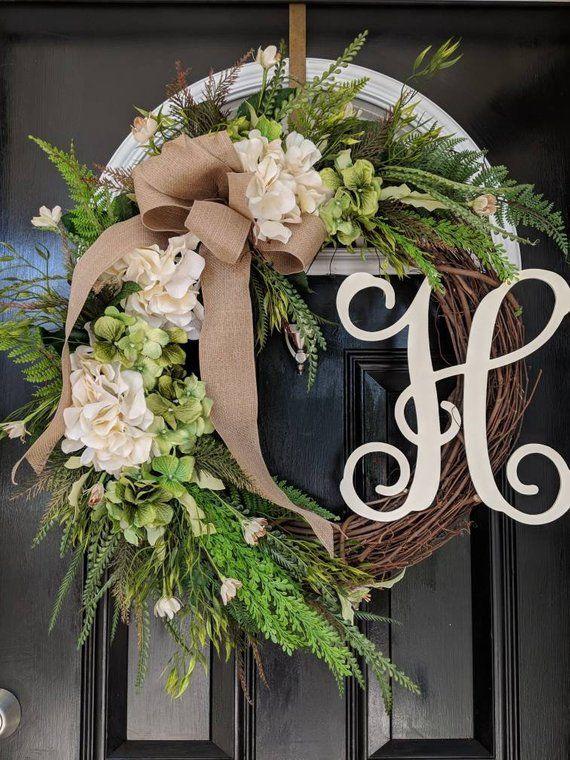 Photo of Grapevine Wreath Hydrangeas Wreath Personalized Monogram Initial Wreath Wedding Decor Wreath Cream Burlap Spring Summer Year Round Wreath