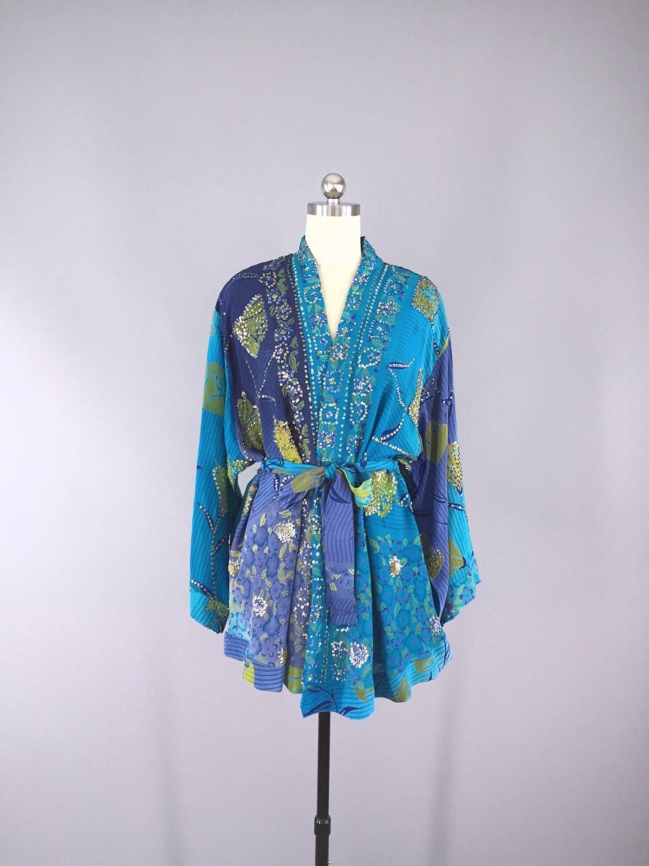 Silk Kimono Cardigan / Vintage Indian Sari / Sequined Blue Floral ...