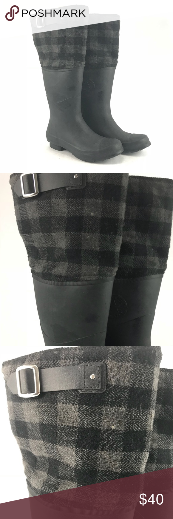Converse tall rubber rain boots with plaid upper Pre-owned Converse tall  rubber rain boots with plaid upper edging. See pictures for condition. 6959caffc