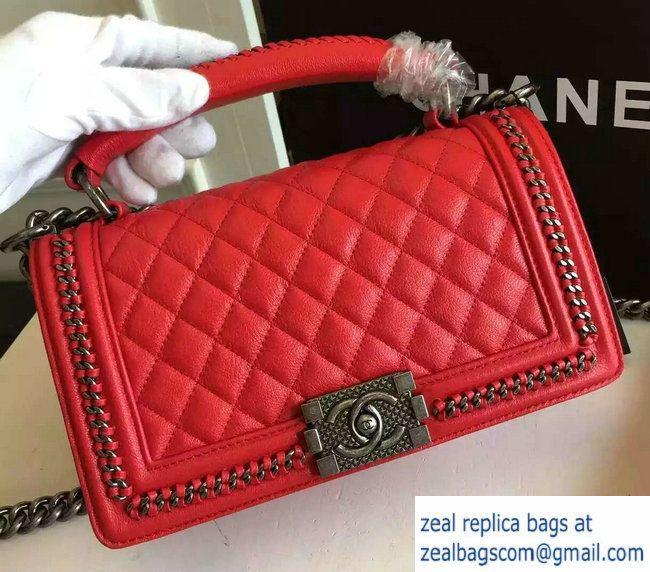 9f9e078b2306 Chanel Chain Top Handle Boy Flap Medium Bag A94804 Red 2016