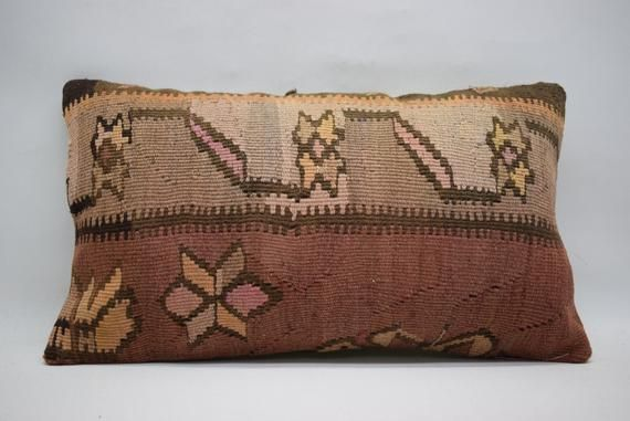 Anatolian kilim pillow decorative kilim pillow turkish kilim pillow handwoven kilim pillow 12x20 lumbar kilim pillow boho pillow 01149