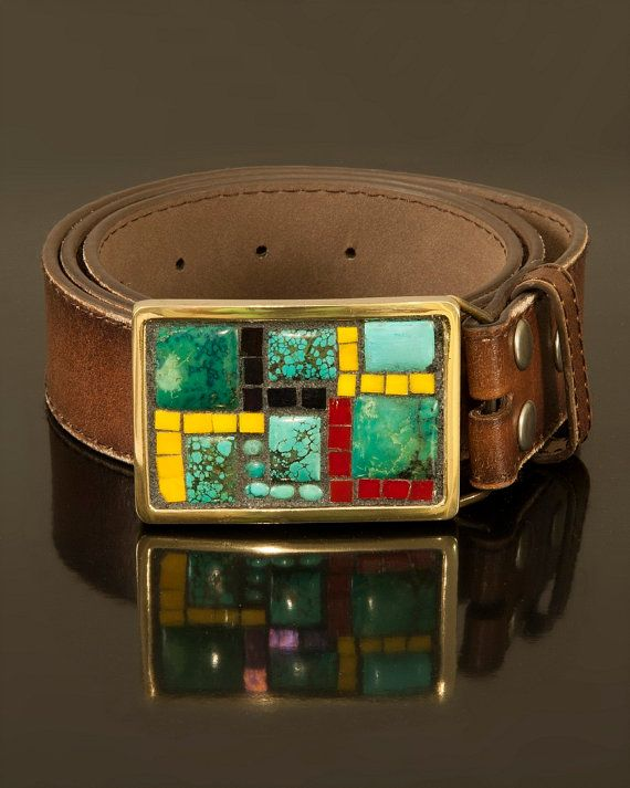 Gemstone mosaic belt buckle - turquoise and multi colored glass on Etsy, $195.00