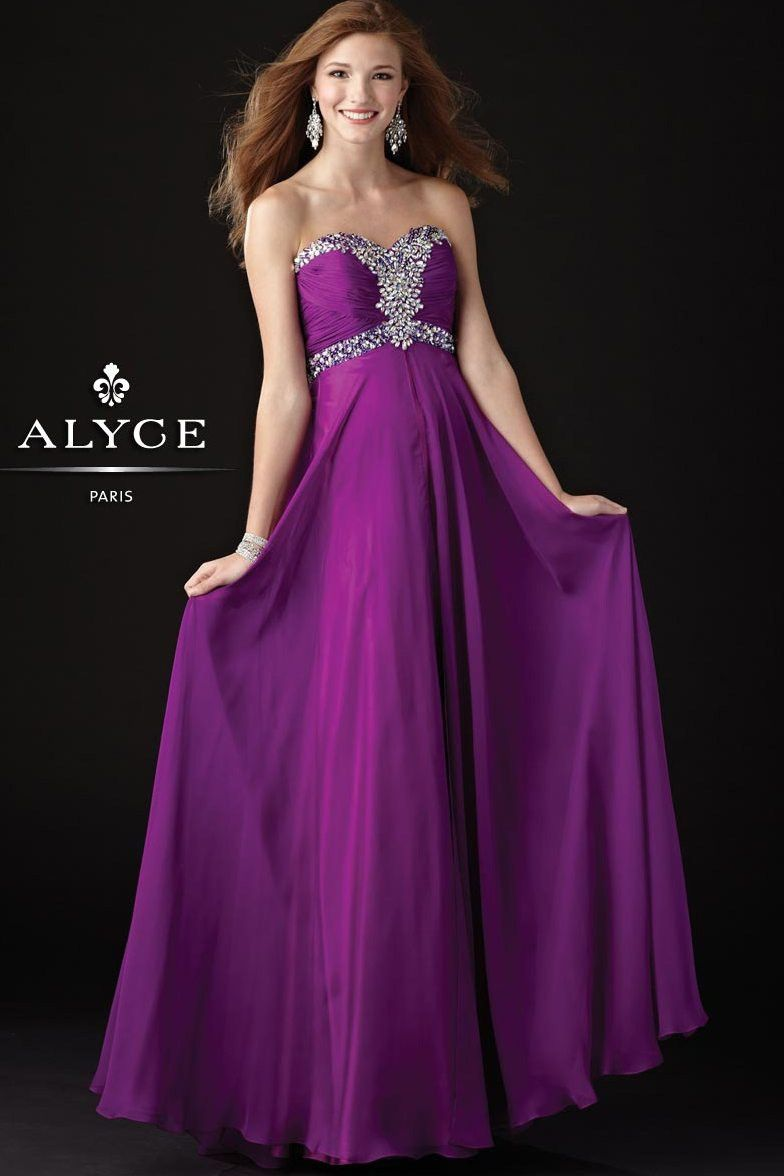 Elegant Purple Chiffon Beaded Strapless Formal Dress - Prom Dresses ...
