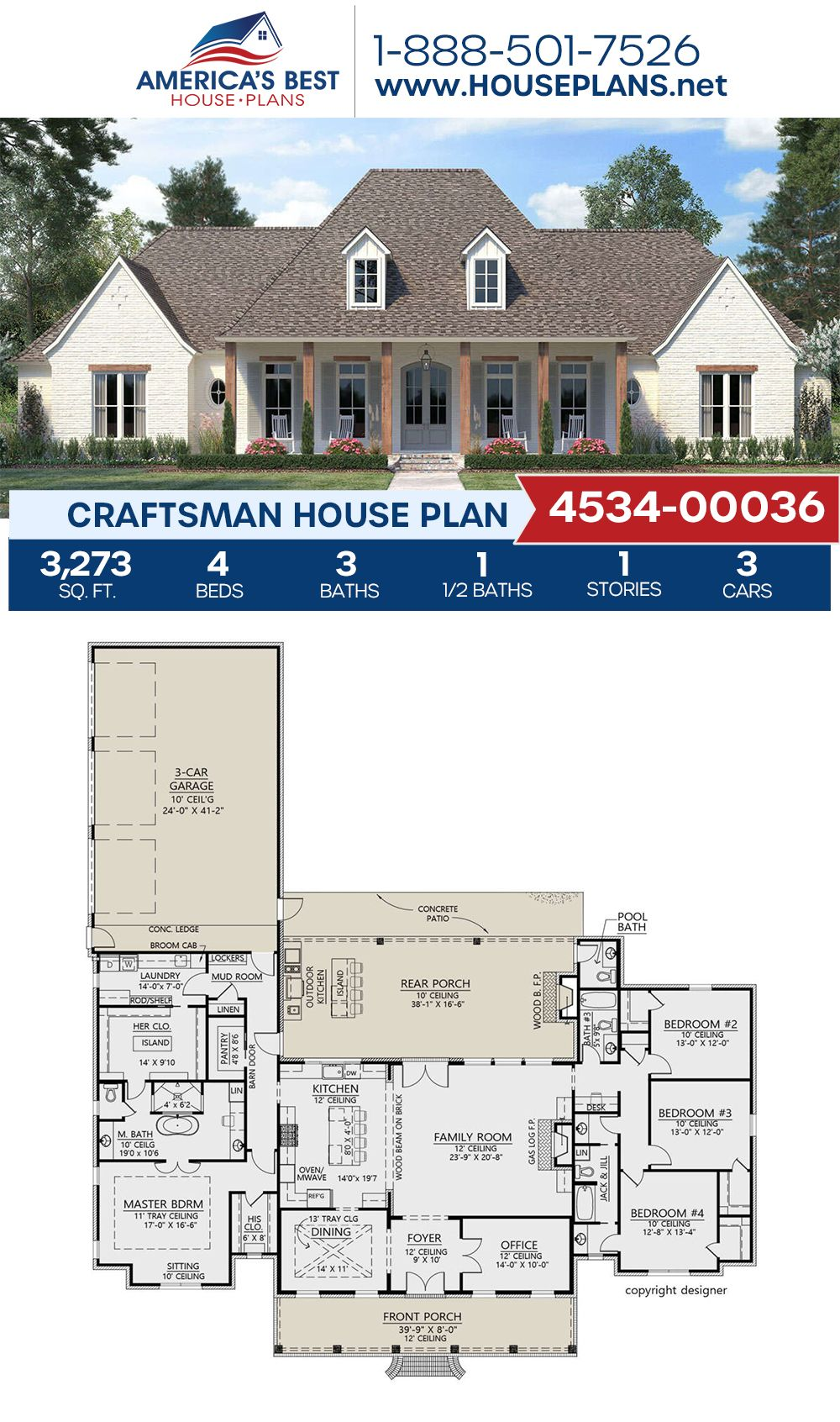 House Plan 4534 00036 Craftsman Plan 3 273 Square Feet 4 Bedrooms 3 5 Bathrooms In 2020 House Plans Farmhouse Craftsman House Plans New House Plans