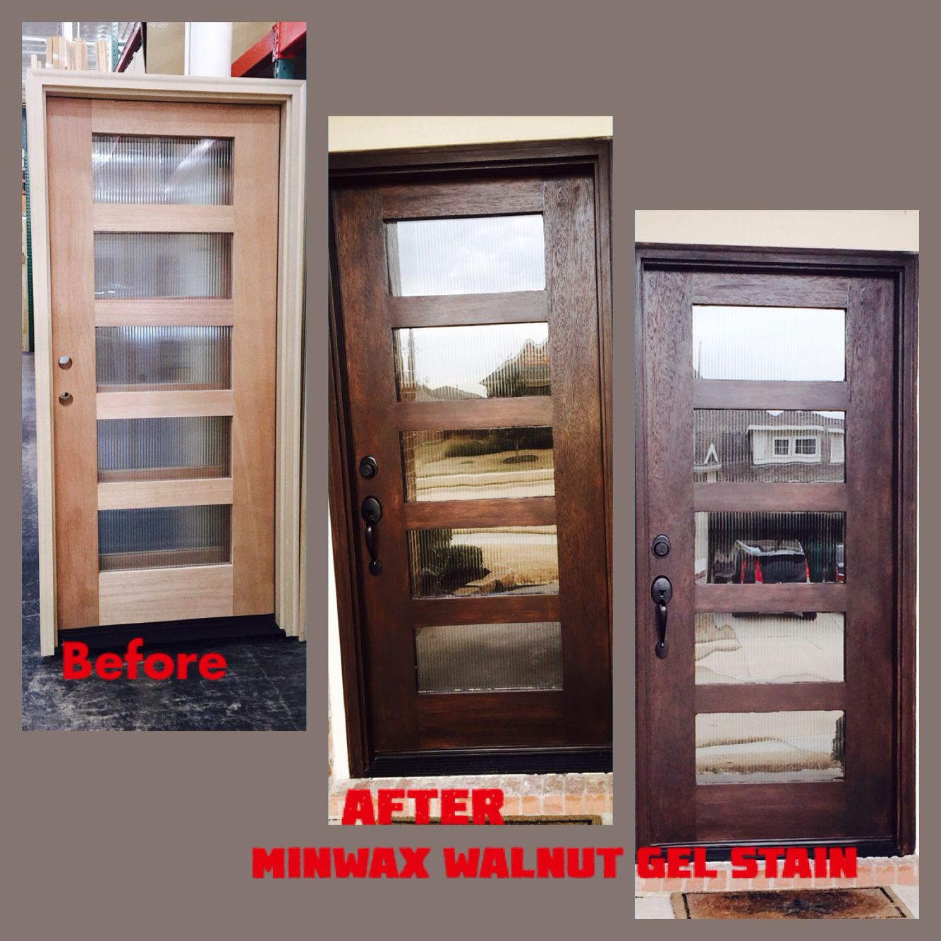 Minwax gel stain colors home depot wood stains color chart car tuning - Before After Front Entry Door Reed Glass Panels With Minwax Gel Stain Walnut