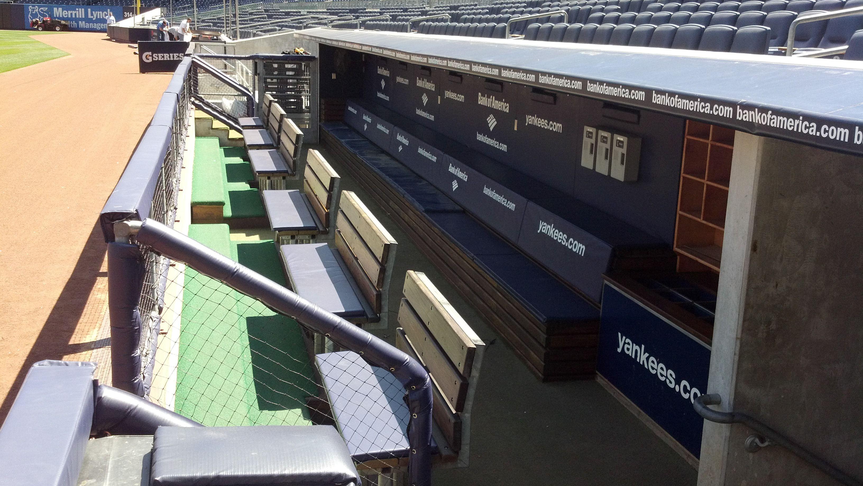 the dugout at Yankee Stadium