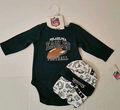 2c94e4bb6 NFL Philadelphia Eagles Infant Baby Boys 3 Piece Set Onesie Hat Mittens