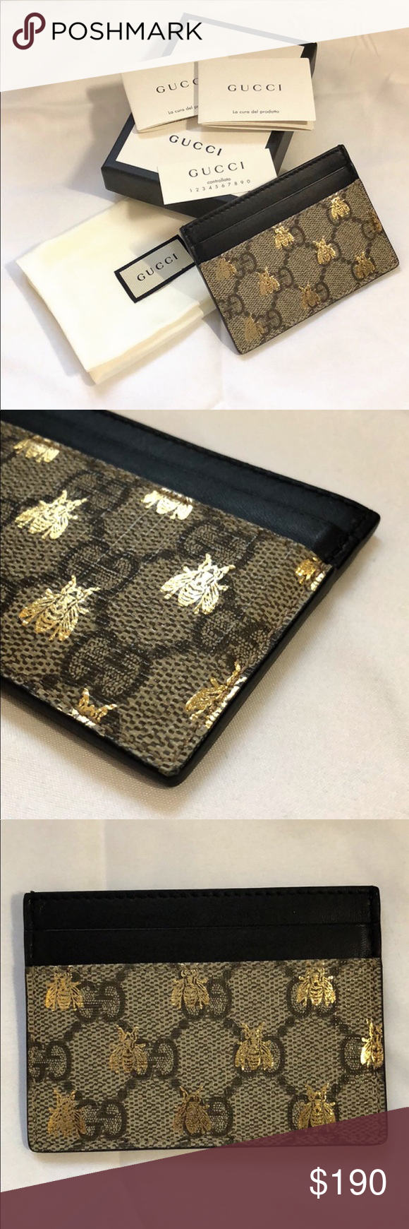 size 40 1b2b2 e4116 GG Supreme bees card case *new* Brand new — never used. Comes with ...