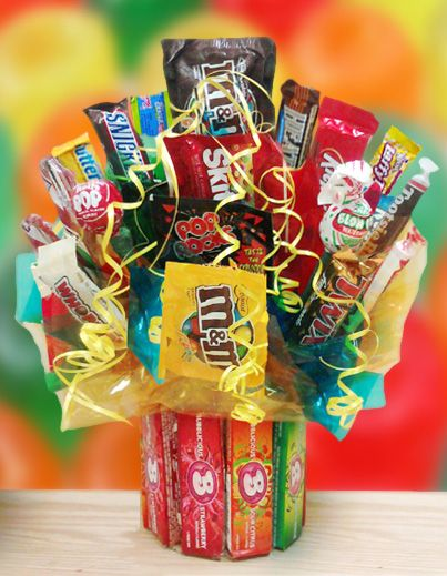 Bubblicious Bubble Gum Candy Bouquet Arrangementscandy Centerpiecesgift Basketscandy Basketsraffle Basketsdiy