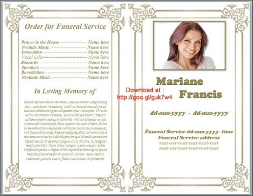 Printable Funeral Program Template Funeral Program