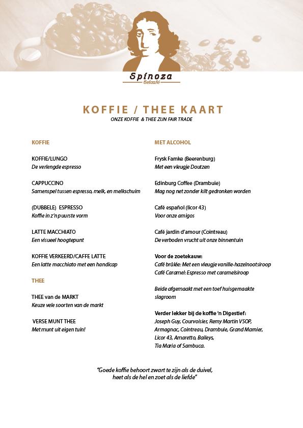 KOFFIE/THEE KAART- SPINOZA 2016