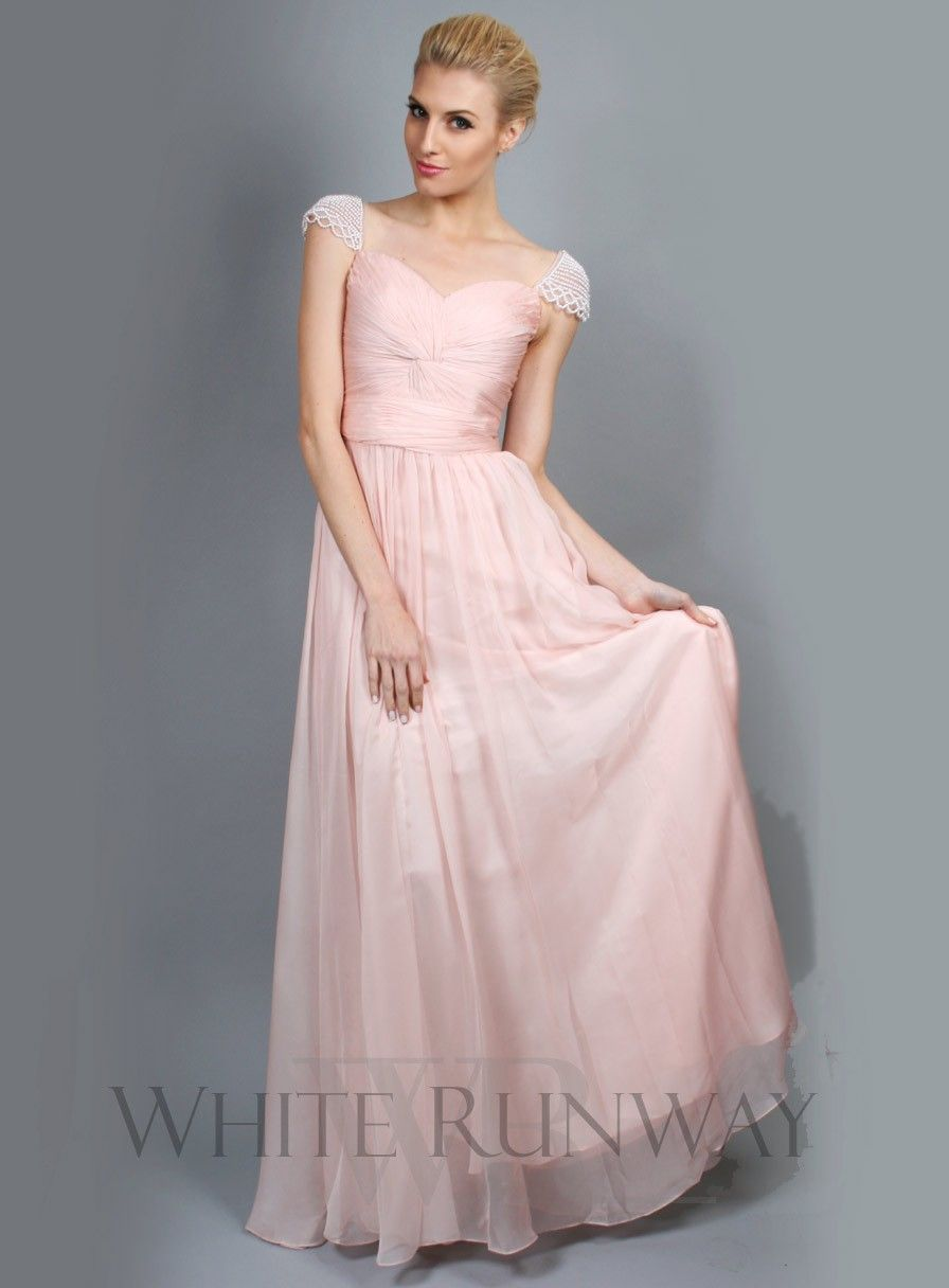 Pale pink dress for wedding guest  Sweet Pearl Cap Sleeve Dress  Bridesmaids  Pinterest  Pearls