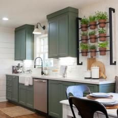 Country Kitchen With Indoor Herb Garden Sage Green Cabinets And White Shiplap Walls