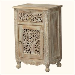 Superior Queen Anne Lace Front Mango Wood Nightstand End Table Cabinet
