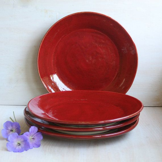 Rustic Red Dinner Plates in Cherry Glaze Handmade by sheilasart $140.00 & RESERVED for Rebecca H. -Rustic Red Dinner Plates in Cherry Glaze ...